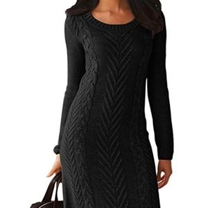 Women's Cable Knit Long Sleeve Sweater Dress